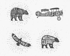 Set of Vintage silhouette hand drawn lettering slogans. Retro monochrome animal Stock Illustration