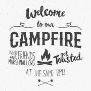 Vintage typography poster Illustration with sign welcome to campfire - Grunge - stock illustration