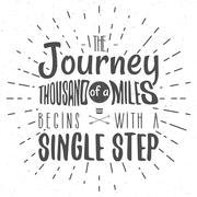 Retro typography Background with typographical quote - A Journey of a thousand - stock illustration