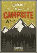 Retro travel typography poster with camping symbols - tent, mountains, forest - stock illustration