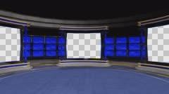 Studio 72 Angle B Circular Studio with Animated Screens Stock Footage