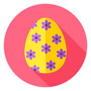Stock Illustration of Easter Egg with Floral Decor Circle Icon