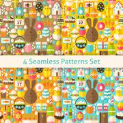 Four Vector Flat Happy Easter Seamless Patterns Set Stock Illustration