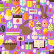 Happy Easter Vector Flat Design Purple Seamless Pattern Stock Illustration