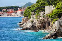 Adriatic Sea Coastline in Dubrovnik Stock Photos