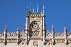 Rossio Railway Station in Lisbon Architectural Details - stock photo