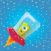 ufo. alien vector. flying saucer - stock illustration