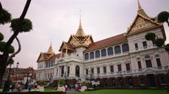 sunset wat phra kaew temple main palace square 4k time lapse thailand - stock footage