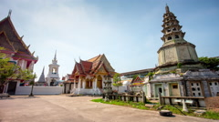 Day famous bangkok temple square panorama 4k time lapse bangkok thailand Stock Footage