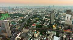 Bangkok evening hotel roof top traffic roads cityscape 4k time lapse thailand Stock Footage
