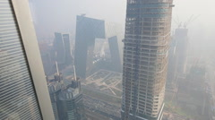 A general view shows Beijing's central business district among the heavy haze Stock Footage