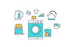 Home Appliance Illustration - stock illustration