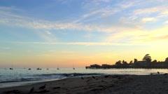 Sunset at Capitola Beach, California Stock Footage
