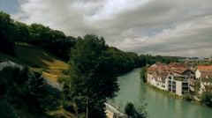 View of the Old City of Berne in Switzerland Stock Footage