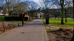 Passing through a park on my way to the library in Helsingborg Stock Footage