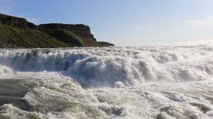 Hvita river rushing towards Gullfoss waterfall, in Iceland Stock Footage