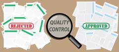 quality control check document with approved and rejected stamps - stock illustration