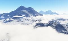 Ice age. Icy wasteland of the clouds in the sky, 3D render Stock Illustration