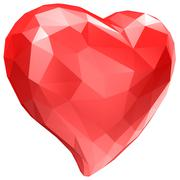 Heart with faceted low-poly geometry effect Stock Illustration