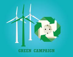 green campaign with electricity plug and wind turbine vector - stock illustration