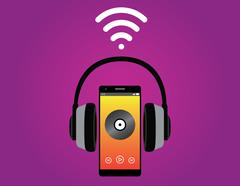 smartphone with headphone listening music use wifi signal vector - stock illustration