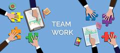 Team work concept together use puzzle or jigsaw vector Piirros
