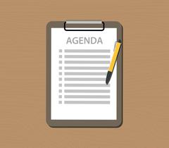 Agenda list with document and clipboard vector Stock Illustration