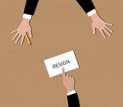 resignation give resign letter to bos vector - stock illustration