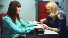 Manicure in a nail salon - stock footage