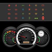 car speedometer night panel - stock illustration