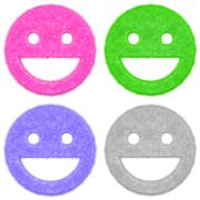 Set of happy smile icons with fur - stock illustration