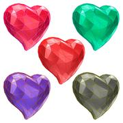 Set of hearts with faceted low-poly geometry effect - stock illustration
