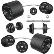 shots of a metal barbells and weights - stock illustration