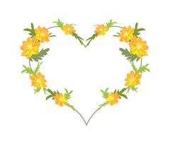 Yellow Cosmos Flowers in A Heart Shape - stock illustration