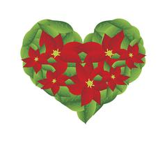 Red Poinsettia Flowers in A Heart Shape Stock Illustration