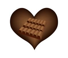 Delicious Chocolates Bar in Lovely Heart Shape - stock illustration