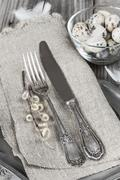 Easter decoration with ancient silverware - stock photo