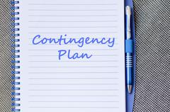 Contingency plan write on notebook Stock Photos