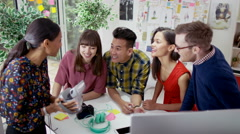4K Creative business team in modern office pose for selfie with polaroid camera. Stock Footage