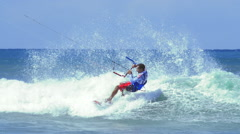 Amazing skills of professional kite surfer. Extreme water sport video background Stock Footage