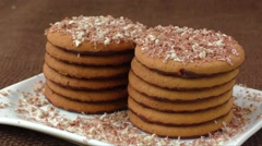 Round cookies with chocolate in a plate Stock Footage