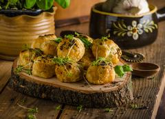 Cheesy bites with blue cheese and pepper - stock photo