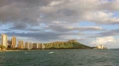 Mountain Buildings Sea Coastline Footage Travel Honolulu Waikiki Beach Skyline Stock Footage