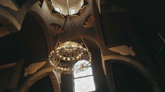 Armenian church with chandelier Stock Footage