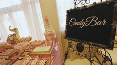 Candy Bar with various sweets and decorations - stock footage