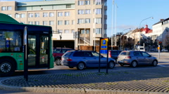 The crossing leading to Helsingborg Central Station in Sweden Stock Footage
