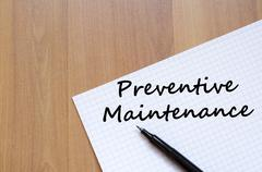 Preventive maintenance write on notebook Stock Photos