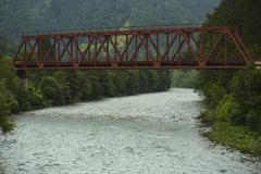 Metal railway bridge Stock Photos