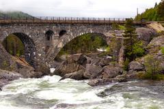 arched bridge - stock photo