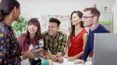 4K Creative business team in modern office pose for selfie with polaroid camera. Arkistovideo
